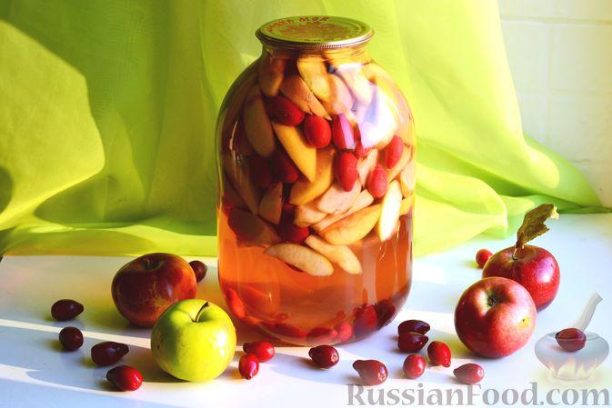 Фото приготовления рецепта: Компот из яблок и кизила (на зиму) - шаг №18
