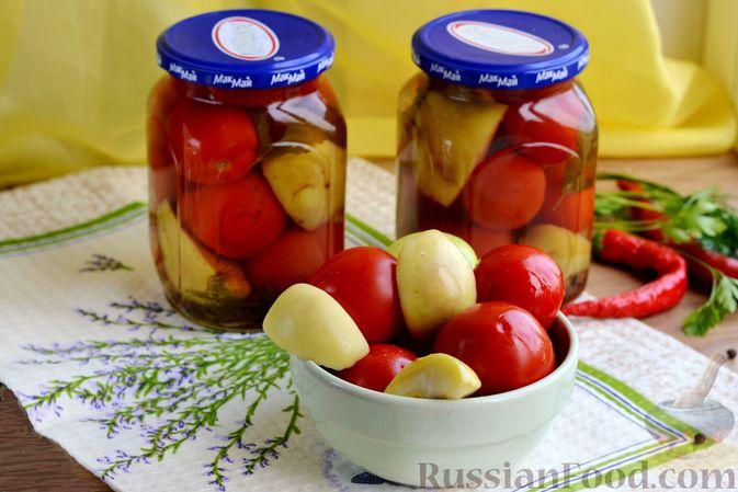 Фото к рецепту: Маринованные помидоры с яблоками и корицей (на зиму)