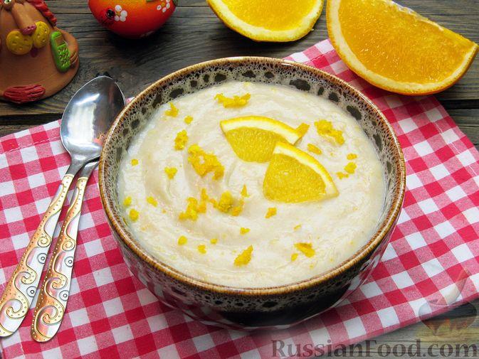 """Фото приготовления рецепта: Молочный """"суп"""" с бананами и апельсиновой цедрой - шаг №13"""