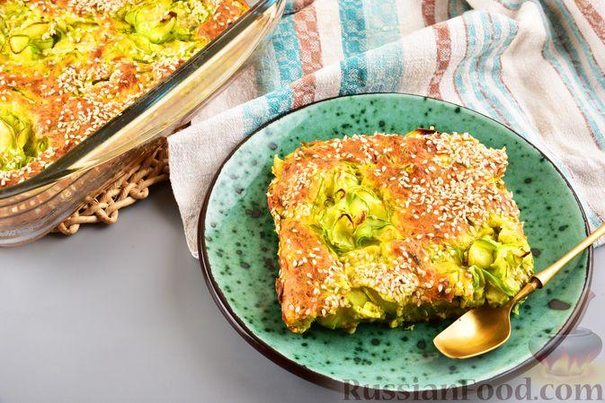 Фото к рецепту: Пирог-запеканка с кабачками и творогом