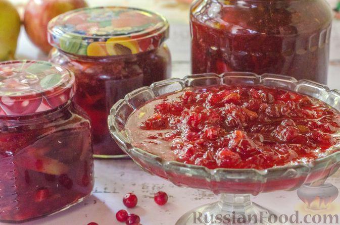 Фото к рецепту: Брусничный джем с яблоками и грушами