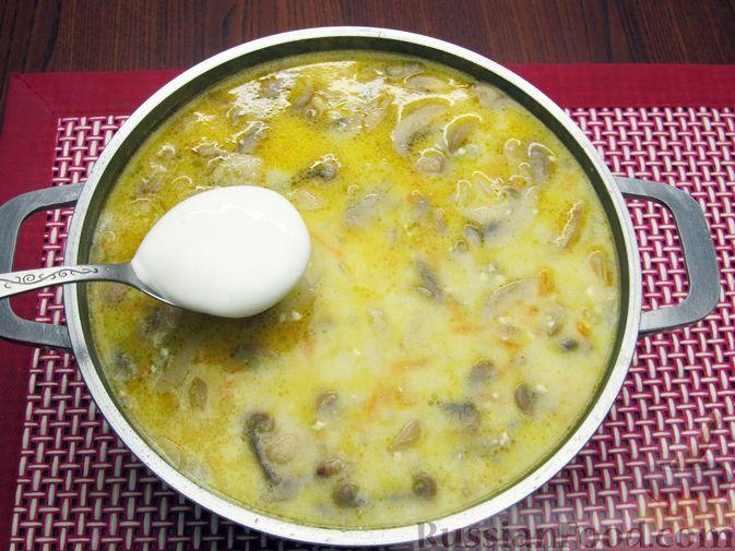 Фото приготовления рецепта: Сырный суп с шампиньонами - шаг №13