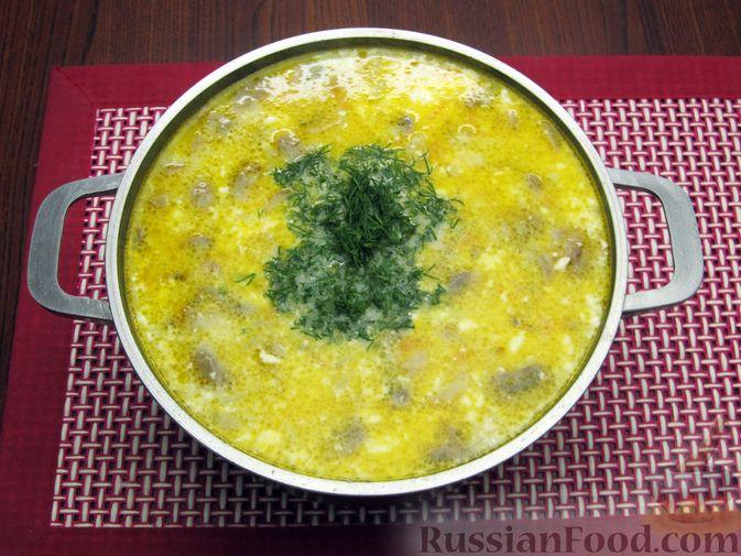 Фото приготовления рецепта: Сырный суп с шампиньонами - шаг №14