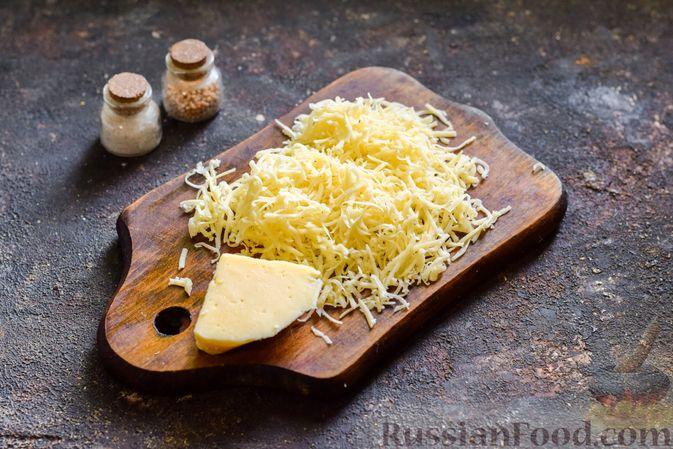 """Фото приготовления рецепта: Баклажаны с сырной начинкой, в """"шубке"""" из мясного фарша (в духовке) - шаг №8"""