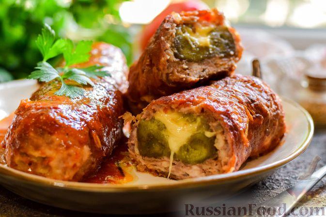 """Фото приготовления рецепта: Баклажаны с сырной начинкой, в """"шубке"""" из мясного фарша (в духовке) - шаг №18"""