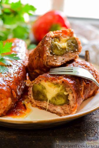 """Фото приготовления рецепта: Баклажаны с сырной начинкой, в """"шубке"""" из мясного фарша (в духовке) - шаг №19"""