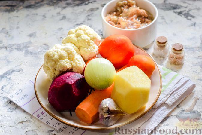 Фото приготовления рецепта: Борщ с цветной капустой и тушенкой - шаг №1