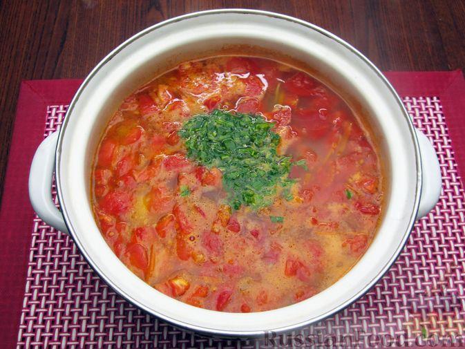 Фото приготовления рецепта: Суп из свинины с пшеном и помидорами - шаг №17