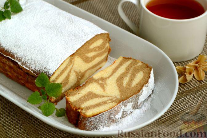 """Фото к рецепту: Кофейно-ванильная творожная запеканка """"Зебра"""""""