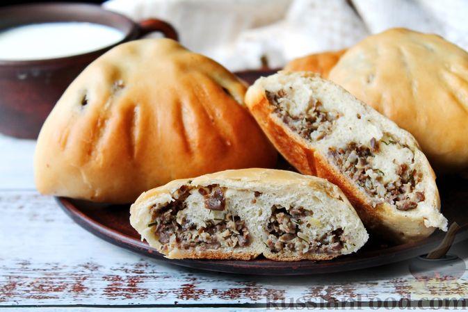 Фото к рецепту: Дрожжевые пирожки с куриными желудочками и кабачками