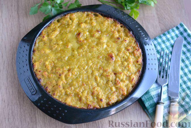 Фото приготовления рецепта: Отварной картофель, запечённый с куриным фаршем, под сливочно-сырным соусом - шаг №21