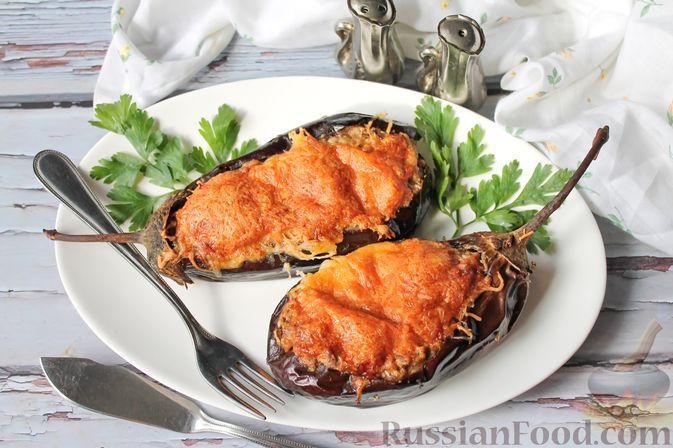 Фото к рецепту: Баклажаны, фаршированные сыром и орехами