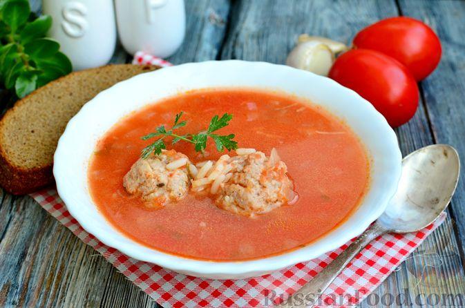 Фото к рецепту: Томатный суп с мясными фрикадельками и рисом