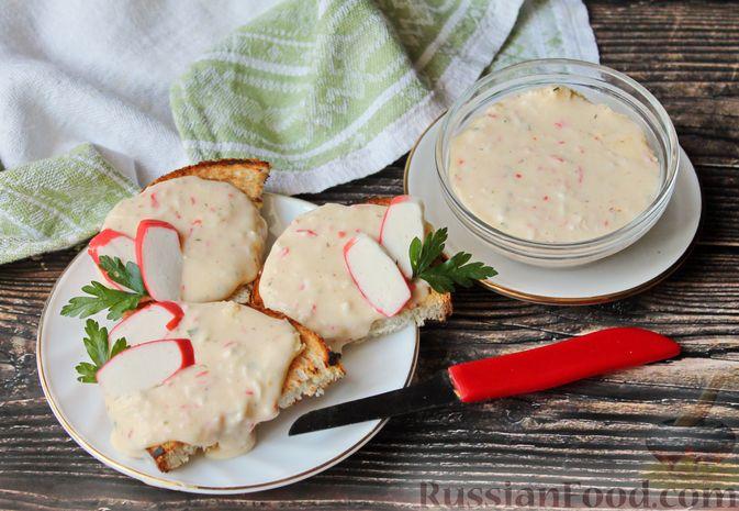 Фото к рецепту: Плавленый сыр из творога с крабовыми палочками