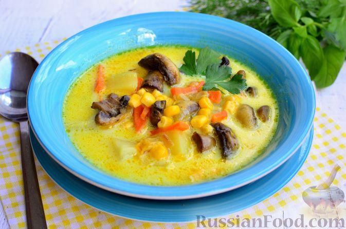 Фото к рецепту: Сырный суп с шампиньонами и консервированной кукурузой
