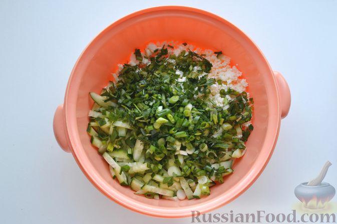 Фото приготовления рецепта: Конвертики из лаваша с творогом, кукурузой, огурцом и зеленью - шаг №5