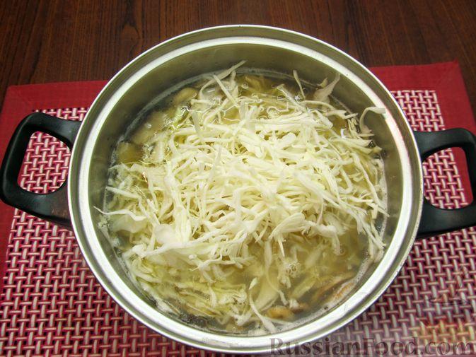 Фото приготовления рецепта: Куриный суп с шампиньонами и капустой - шаг №8