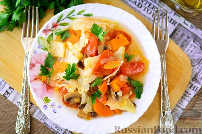 Фото приготовления рецепта: Рагу из тыквы с капустой и шампиньонами - шаг №12