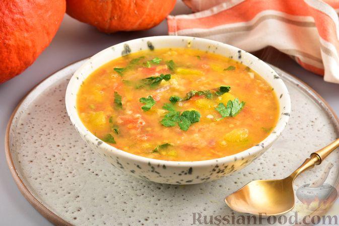 Фото к рецепту: Овощной суп с тыквой и чечевицей