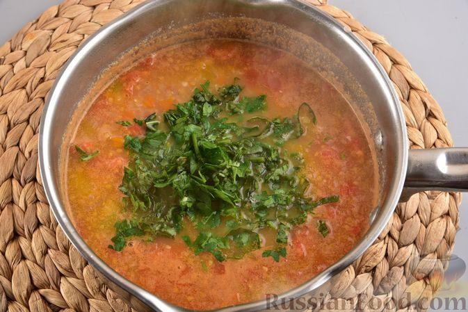 Фото приготовления рецепта: Овощной суп с тыквой и чечевицей - шаг №13