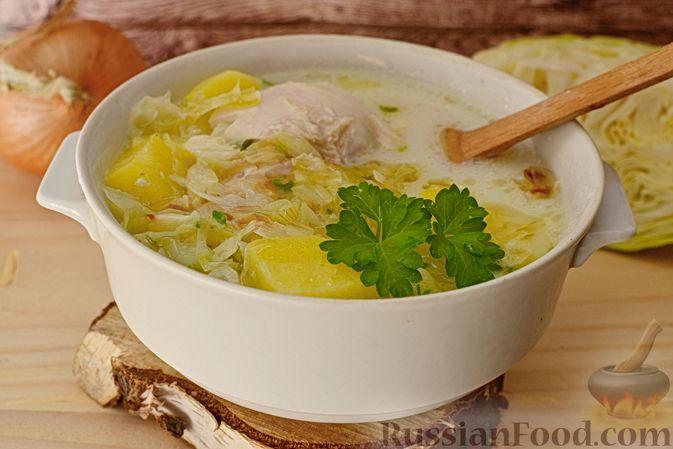 Фото к рецепту: Капустный суп с рисом и сливками