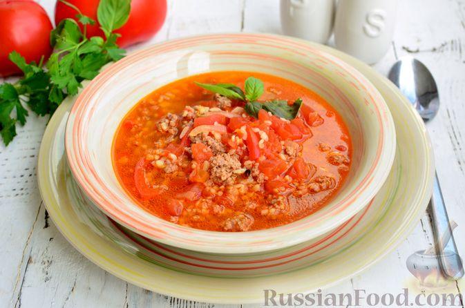 Фото приготовления рецепта: Томатный суп с мясным фаршем и булгуром - шаг №14