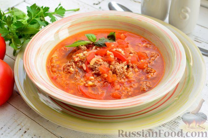 Фото приготовления рецепта: Томатный суп с мясным фаршем и булгуром - шаг №15