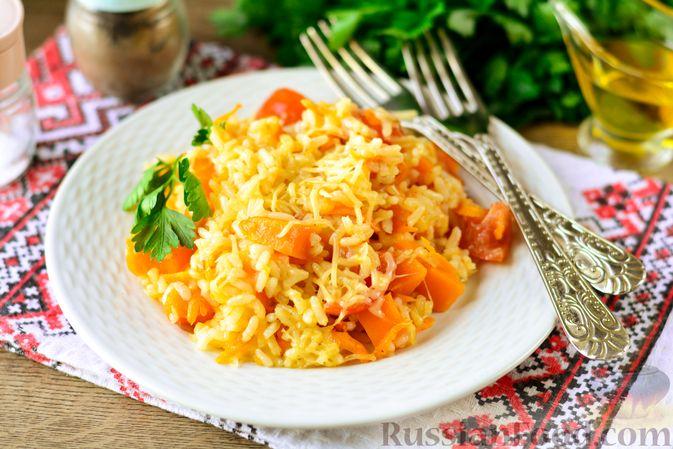 Фото к рецепту: Рис с тыквой, помидорами и сыром (на сковороде)