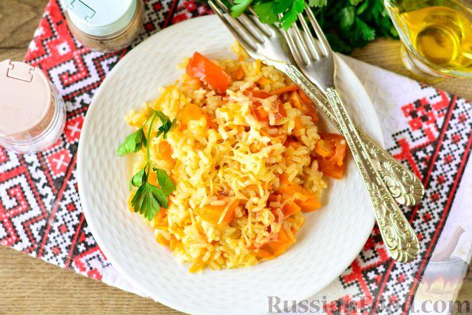 Фото приготовления рецепта: Рис с тыквой, помидорами и сыром (на сковороде) - шаг №11
