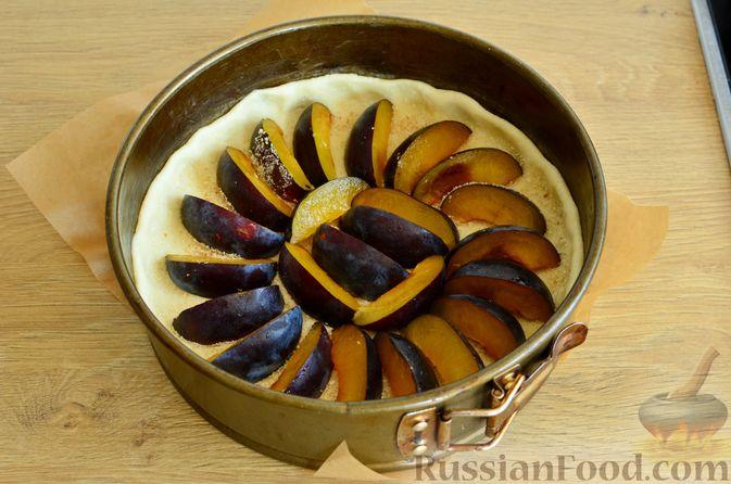 Фото приготовления рецепта: Творожный пирог со сливами и грецкими орехами в карамели - шаг №9