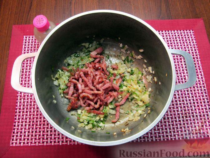 Фото приготовления рецепта: Суп из зеленых помидоров с копченой грудинкой - шаг №10