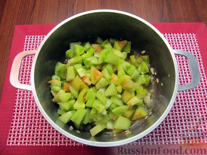 Фото приготовления рецепта: Суп из зеленых помидоров с копченой грудинкой - шаг №11