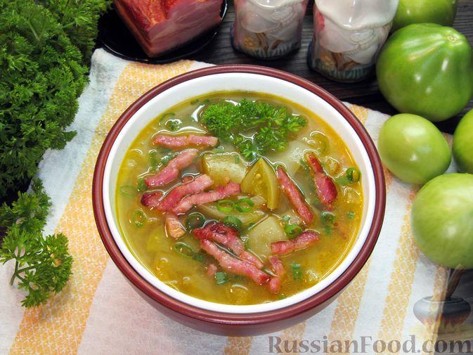 Фото приготовления рецепта: Суп из зеленых помидоров с копченой грудинкой - шаг №15