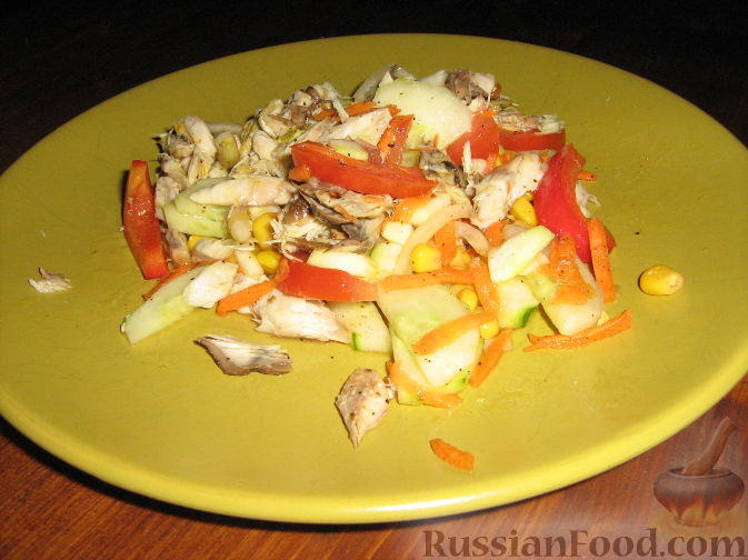Рецепт Салат со скумбрией-гриль