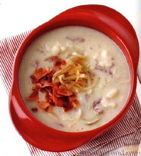 Рецепт Картофельный суп-пюре с луком и беконом