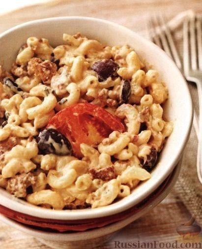 Рецепт Макароны, запеченные с оливками и мясом под сырным соусом