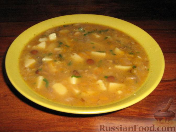 Рецепт Суп грибной с чечевицей