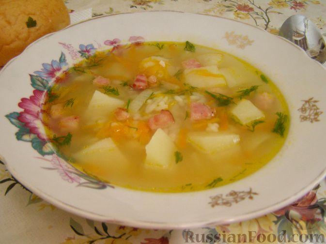 Рецепт Густой рисовый суп с беконом