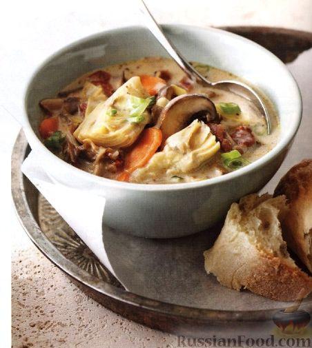 Рецепт Сливочный суп с грибами и артишоками
