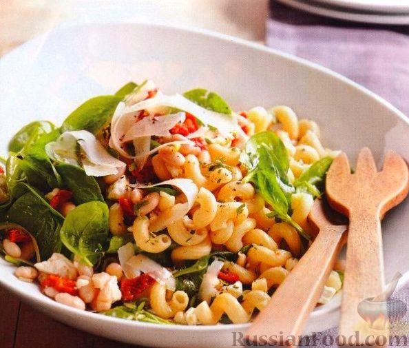 Рецепт Шпинатный салат с пастой и фасолью
