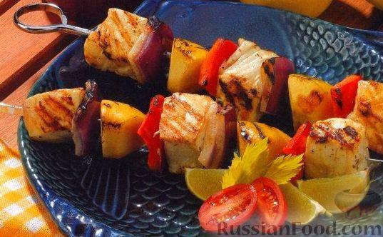 Рецепт Шашлыки из палтуса, яблок, лука и болгарского перца