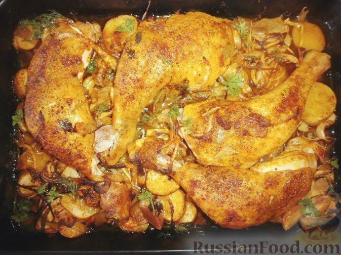 Рецепт Куриные окорочка в духовке с картошкой