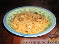 Фото к рецепту: Паста с морскими моллюсками (вонголе) и креветками