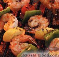 Фото к рецепту: Шашлыки из овощей и креветок