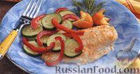 Фото к рецепту: Морской окунь, запеченный с овощами на гриле