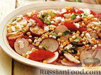Фото к рецепту: Салат картофельный с помидорами и кукурузой