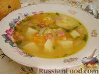 Фото к рецепту: Густой рисовый суп с беконом