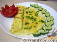 Фото к рецепту: Нежный омлет с сыром