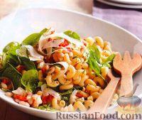 Фото к рецепту: Шпинатный салат с пастой и фасолью