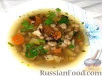 Фото к рецепту: Суп с бобами и белыми грибами